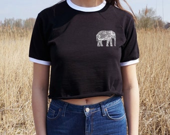 Boho Elephant Crop Ringer Tee T-Shirt Festival Bohemian Top Shirt