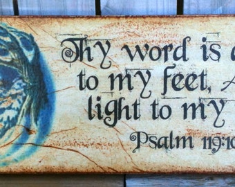 Thy word is a lamp to my feet...- Transfer on Canvas - Religious - Psalm - 4 X 12 - FREE Shipping