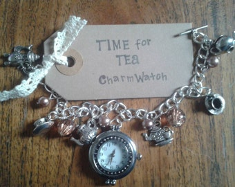 Time for Tea Charm Bracelet Watch