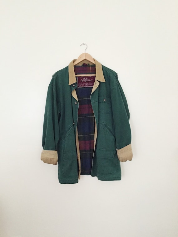 forest green utility / worker canvas jacket with corduroy by jouyi