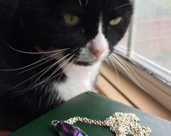 Purple quartz necklace skeleton hand silver chain