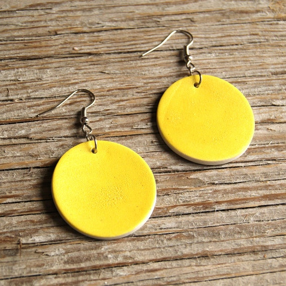 LARGE Round semi porcelain drop earrings with lemon matte glaze