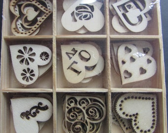 Box of 45 Die Cut Wooden Hearts