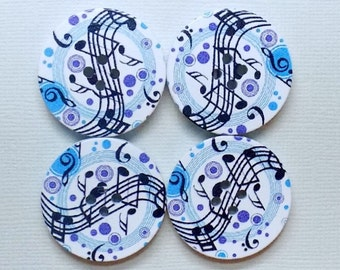 6 Wooden Musical Notes Buttons - #WS-00011
