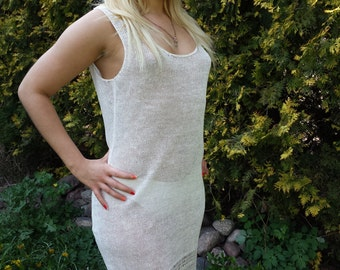 Linen knitted dress, organic clothing, eco friendly, crochet, openwork, lace dress eco Kleidung, bio kleidung, Leinenkleid, Kleid aus Flachs