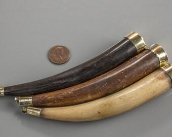 Boho Horn Pendant Connector-- Tibetan Handcrafted Teeth/ Tusk / 3 Colors