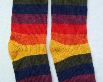 New, Alpaca wool, striped multicolored socks, andean, artisan knitted, winter, size US6 to US9