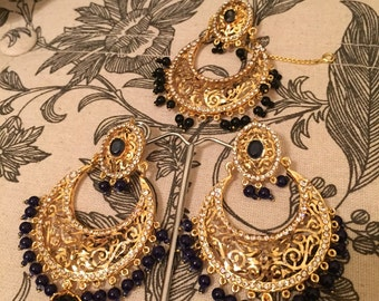 Victorian Chand Bali | Three Choices | Pearl, Green, Red | Gold Plated | Pakistani Indian Jewelery