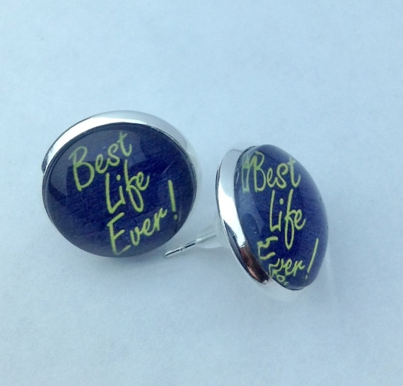 "JW HI-Vis Yellow or Orange ""Best Life Ever"" Earrings. 14mm glass  In velvet gift pouch."