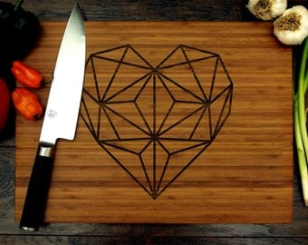 Personalized Cutting Board, Custom Wedding Gift, Geometric Heart Design, Home Decor, Kitchen Decor, Bridal Shower Gifts, Wedding Decor, Love