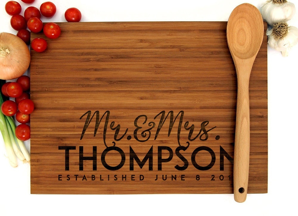 Monogram Wedding Gifts Ideas: Personalized Cutting Board Wedding Gift Mr And Mrs Monogram