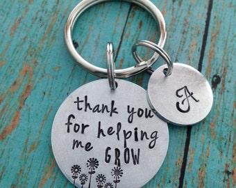 Thank you for helping me grow Key Ring Aluminum Teacher Appreciation Keychain