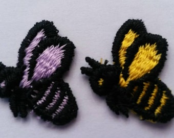 1 BEE Buzzing Purple or Yellow BEE Applique Sew On Animal Patch