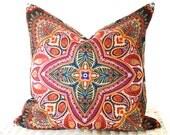 Bohemian cushion cover hippie pillow cover in multicolour orange purple green 16x16