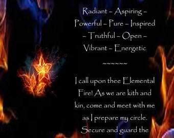Element Fire, the four elements, Wicca, Pagan print, poster, wall hanging