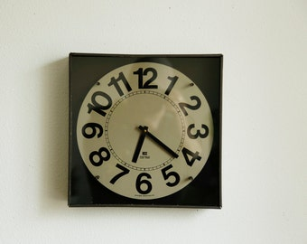 Mid Century Wood Wall Clock / Washington Clock Works