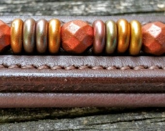 Autumnal: Horse browband  with Czech glass beads with autumn color spacers -- in the size, style, and color of your choice