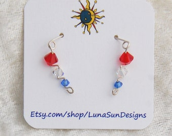 Ear Climber Earrings- Red/White/Blue Swarovski Crystals