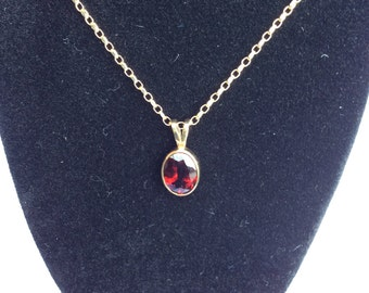 Gold Chain and Garnet Pendant
