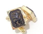 Vintage HICKOK Cufflinks. Intaglios black onyx, gild plated. Regal Lion Motifs. Coat of Arms.
