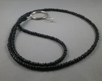"black beaded lanyard 26"" to 42"" your choice of attachment : ID , Key ,eyeglass holder ,unique ,cute ,fashionable ID badge holder lanyard"