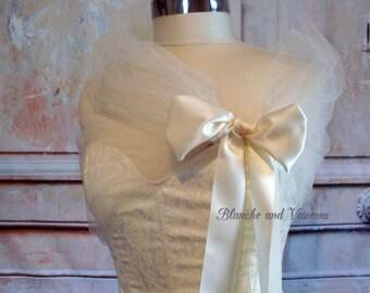 Ivory Tulle Shawl Tulle Shrug Tulle Bolero Soft White Evening Wrap Portrait Stole Wedding Shawl