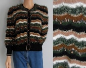 Vintage 80s fluffy cardigan sweater jumper long sleeved stripey brown green black French handknitted button up cardigan small medium large