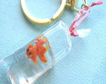 gold fish in a bag key chain bag charm- miniature fish charm