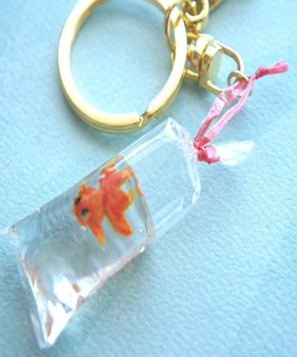 Gold fish in a bag key chain bag charm miniature fish charm for Fish in a bag