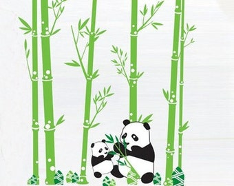 Removable Panda Bamboo Wall Decal,panda Wall Decal,nursery Wall Decal,bamboo  Wall