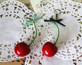 Christmas gift Miniature Red Cherry Swing Swing Earrings Handmade Vintage Antique Rockabilly Style festival fancy assessories rockabilly