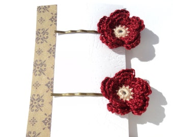 Pair of Crocheted Flower Hair Clips - Bobby pins - Earth Collection
