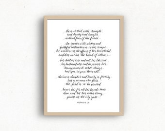 Calligraphy Print of Proverbs 31