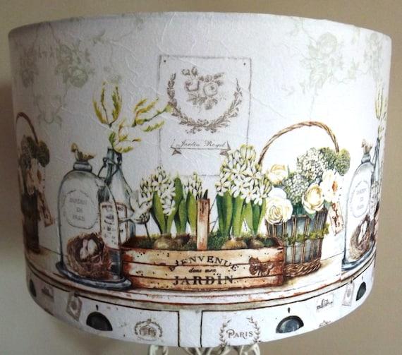 Items Similar To White Kitchen Table Lampshade Decoupage