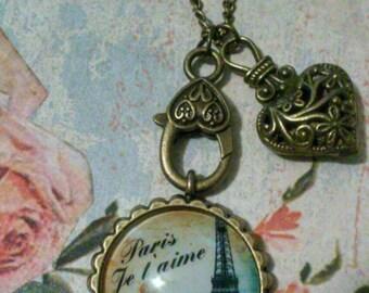 Eiffel tower cabochon pendant necklace, bronze heart pendant necklace, Paris je t'aime pendant necklace