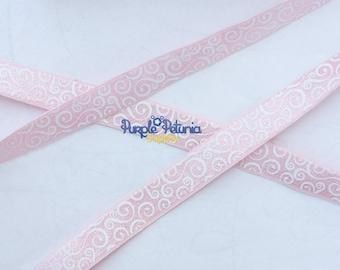 "Light pink FOE, light pink elastic, pink and white elastic,  5/8"" elastic, hair tie elastic, swirl foe, loops foe, fold over elasic"