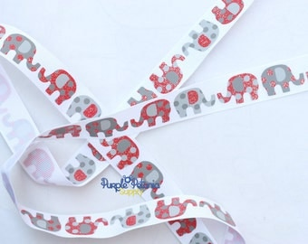 Elephant ribbon, glitter ribbon, red grey elephant ribbon, grosgrain ribbon, printed grosgrain, red elephant ribbon, circus ribbon