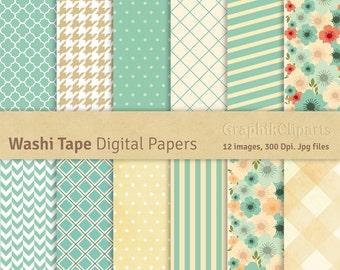 Washi Tape Digital I Papers. Washi. Digital Scrapbook Paper. 12 images, 300 Dpi. Jpg files. Instant Download.