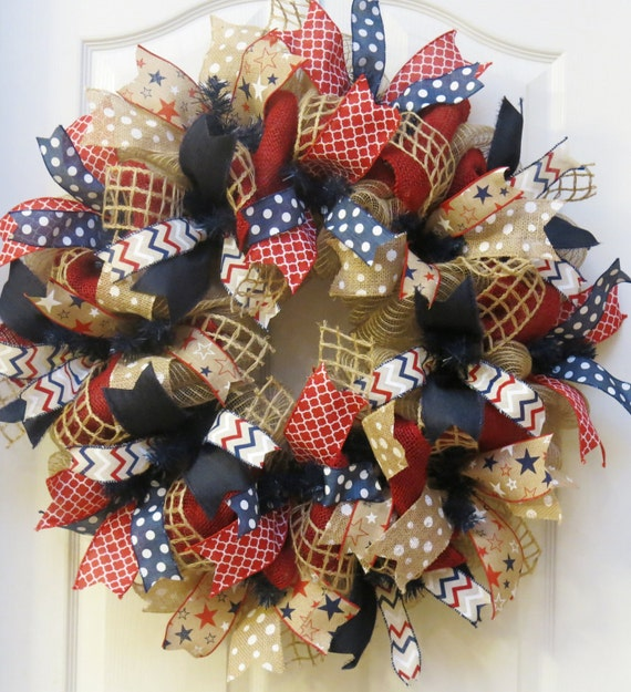 Patriotic wreath 4th of july wreath burlap patriotic wreath americana wreath memorial day - Awesome christmas wreath with homemade style ...