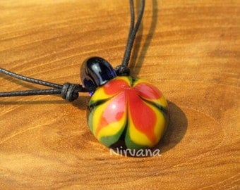 Groovy Rasta Flower Pendant in Pyrex Glass 1 Piece with Black Waxed Linen Adjustable Cord (Free Shipping from Thailand)!!!