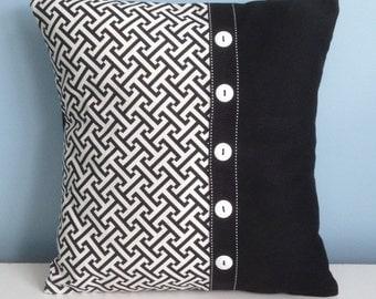 Black and white throw pillow cover. 18x18 decorator pillow. Embellished pillow. Modern pillow. Graphic toss pillow. original design pillow