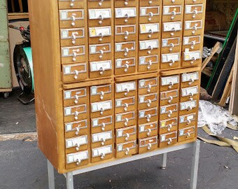 Library Card Catalogue on Stand - 60 Drawers
