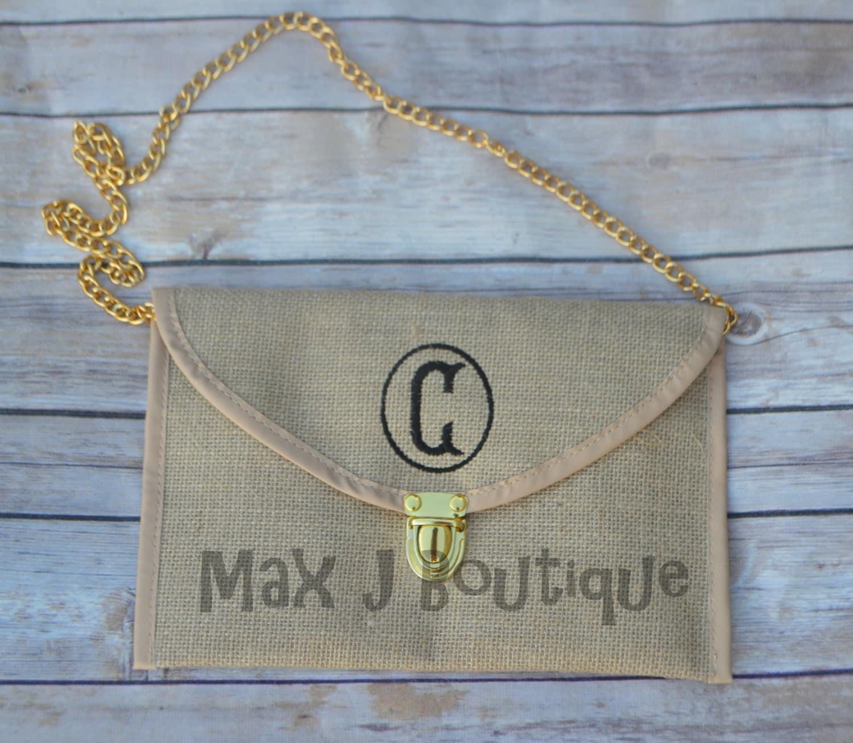 monogrammed jute envelope purse personalized burlap clutch