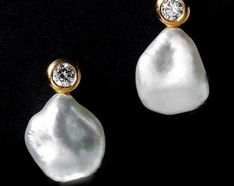 Unique Pearl Earrings Gold Real Pearl Diamond Earrings 'D'Orsay' Classic Contemporary BAROQUE PEARL Drop Earrings Cultured Pearl diamond