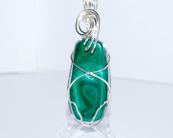 Malachite, Wire Wrapped in Silver Pendant