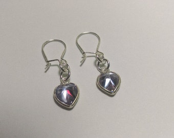Lavendar crystal sterling silver earrings
