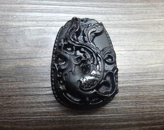 natural obsidian Phoenix pendant