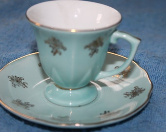 Green w Gold Trim Tea Cup and Saucer, Small, Collectible, Collectors, Parties, Dining in, Perfect For Tea Time, Serving Tea, Beautiful, NICE