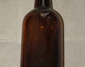 Large, Vintage, Amber, Brown, Glass, Bottle, Apothecary, Pharmacy, Medicine Bottle, Half Gallon, Now a Piggy Bank or Coin Bank, Upcycled