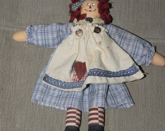 Vintage Raggedy Ann Doll, 10 Inches Tall, Hand Crafted, Beautifully Made, Great Colors, Perfect For 3 and Up Children, Toy, Very Collectible